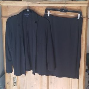 Ann Taylor Black Midi Skirt Suit
